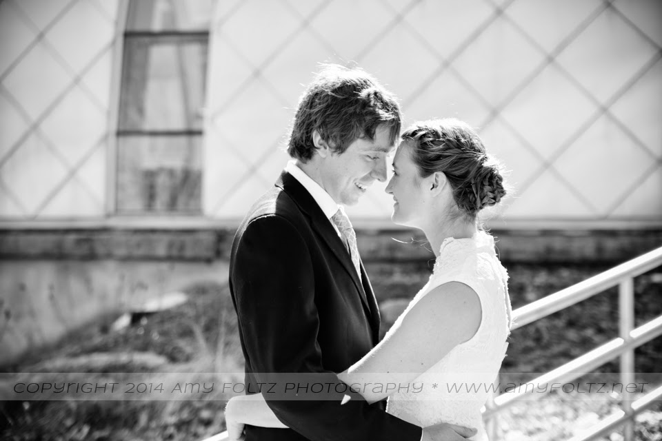 photo of a bride and groom outside White Chapel at RHIT in Terre Haute, IN