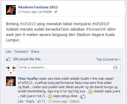 Ramalan Juara Akademi Fantasia 2013