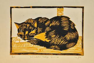 Cat linocut