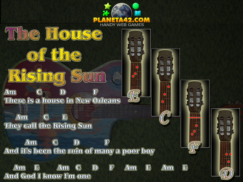 House Of The Rising Sun Guitar Chords Famous Guitar Chords Songs