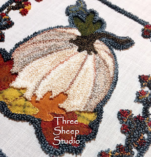 Punch Needle and Wool Applique by Rose Clay at ThreeSheepStudio.com