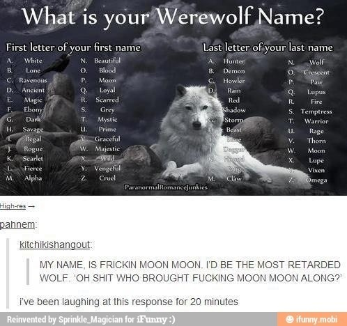 What Is Your Werewolf Name Dr Heckle