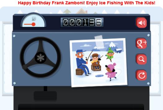 image Google Doodle screenshot showing Frank  Zamboni Ice Fishing