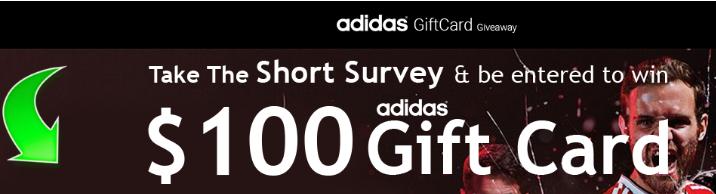 填写调查,得100美金adidas礼卡