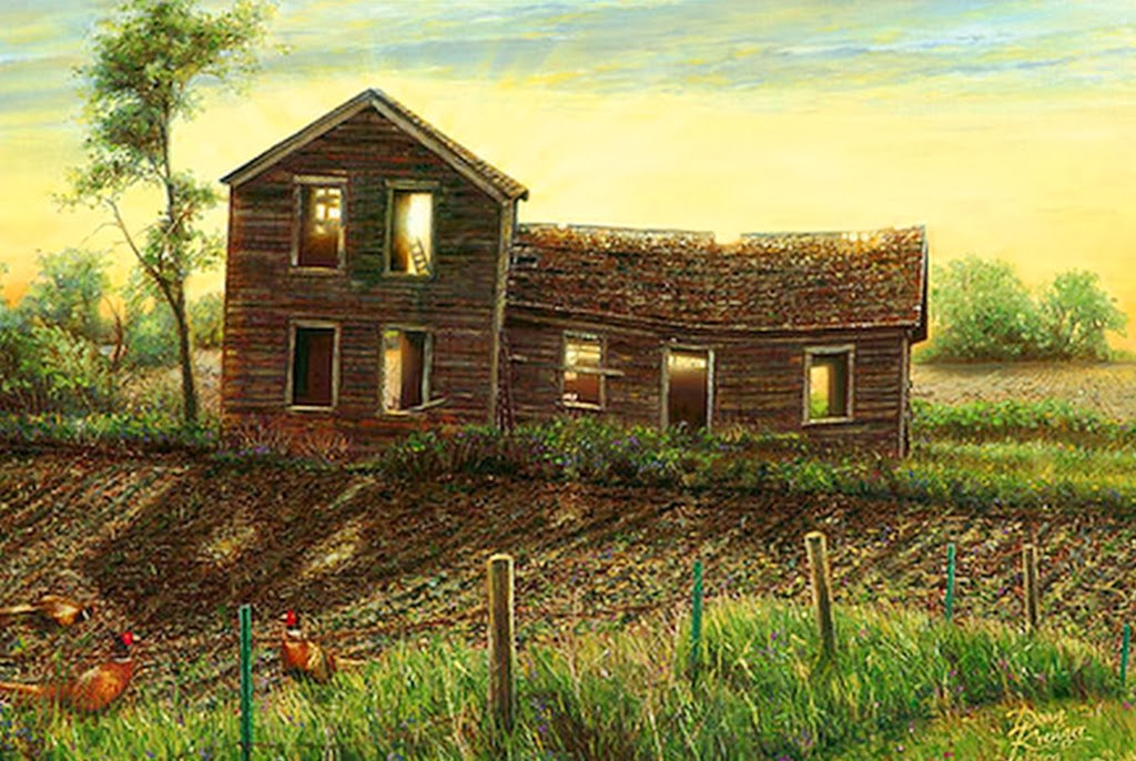 Cuadros pinturas oleos im genes de paisajes pintados al - Casas viejas al oleo ...