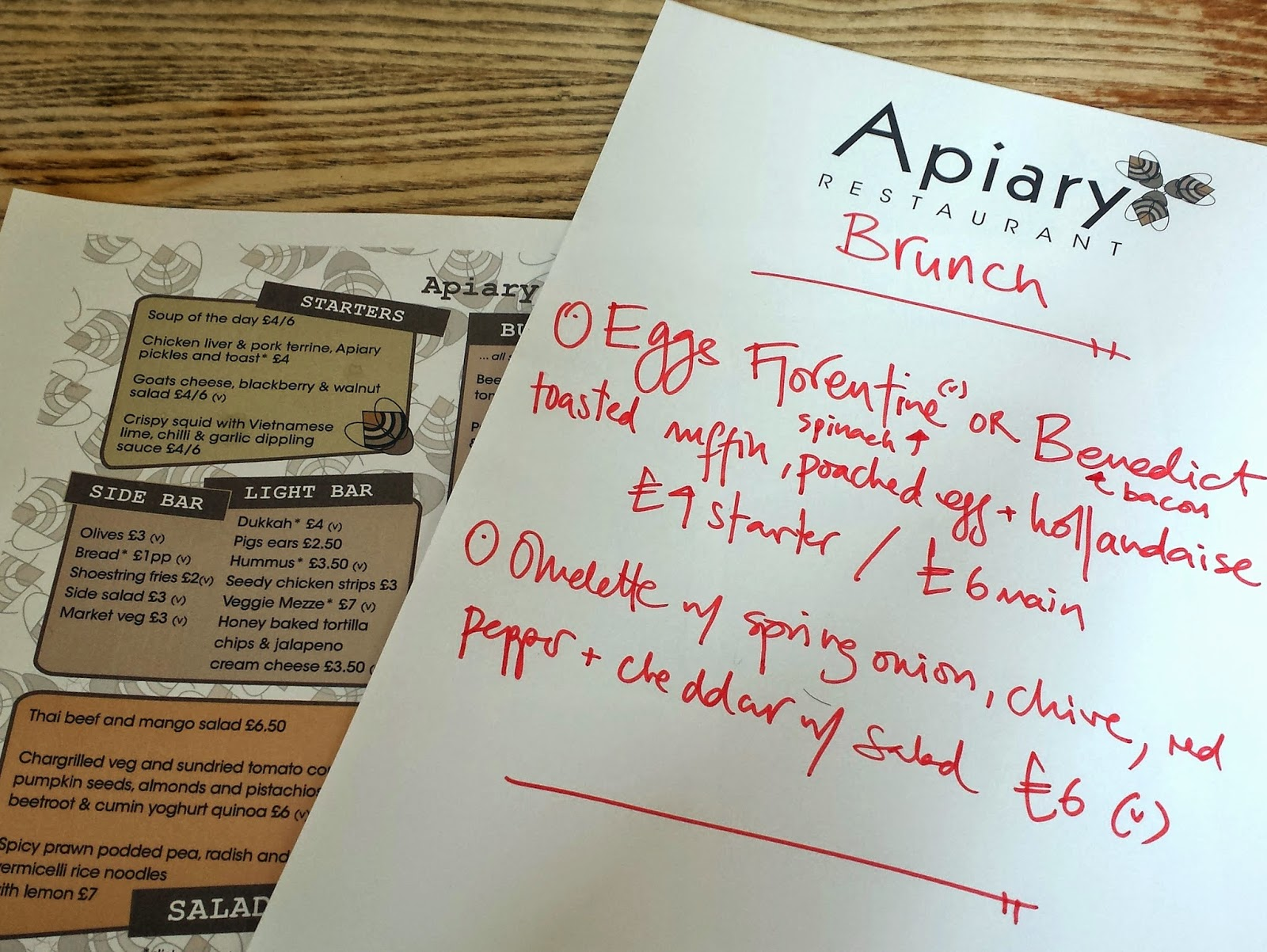 Apiary restaurant brunch menu Edinburgh