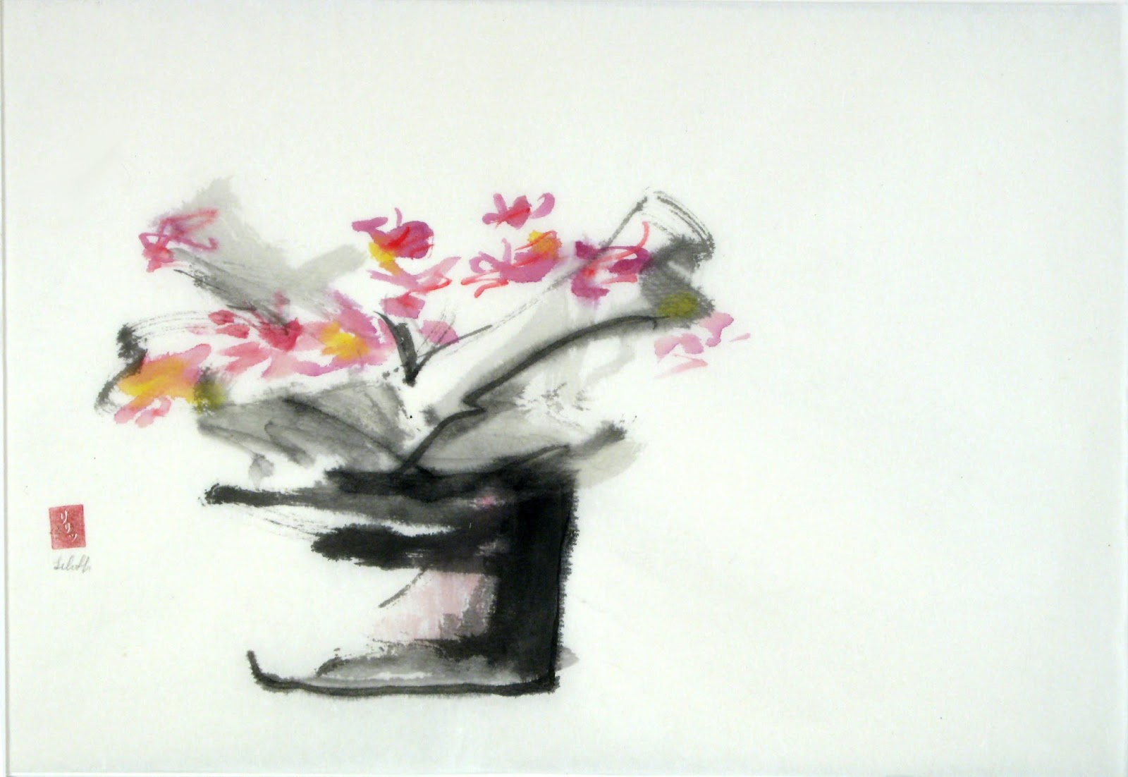 "Flow Like Water ""Tao Te Ching"" verse 8 for Artists illustration of sumi-e bouquet painting."