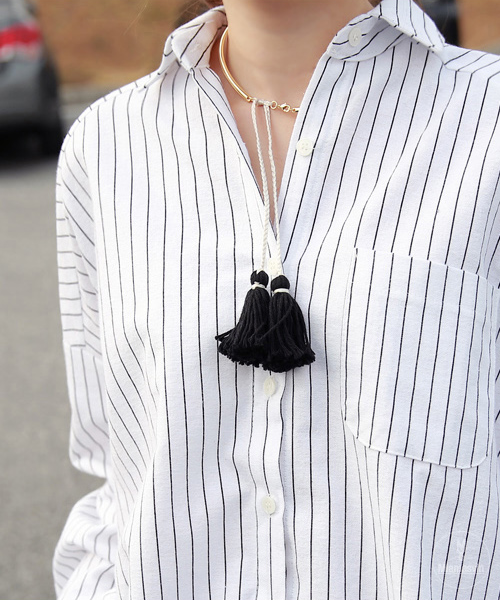 Drop Shoulder Stripe Boyfriend Shirt
