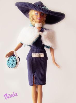 komplet z kapeluszem dla lalki barbie