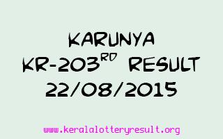 Karunya KR 203 Lottery Result 22-8-2015