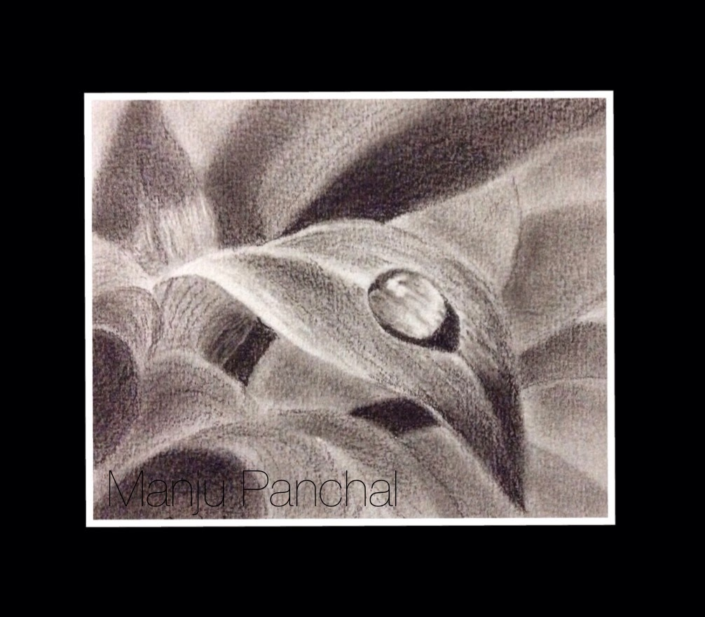 Charcoal painting of a drop of water on leaf by Manju Panchal