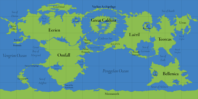 The World of Calidar, World Map, Equirectangular Projection