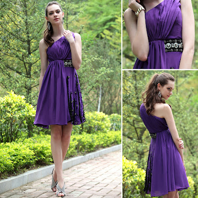 Purple One Shoulder Knee Length Dress