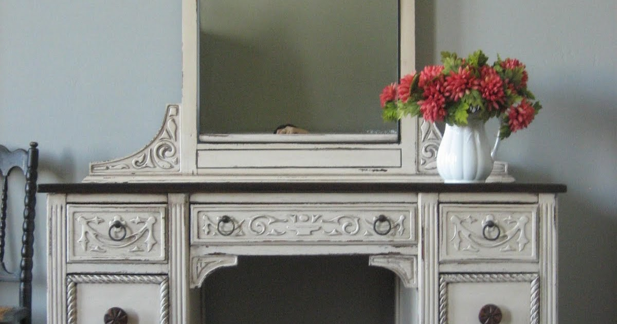 European Paint Finishes Carved Ivory White Vanity