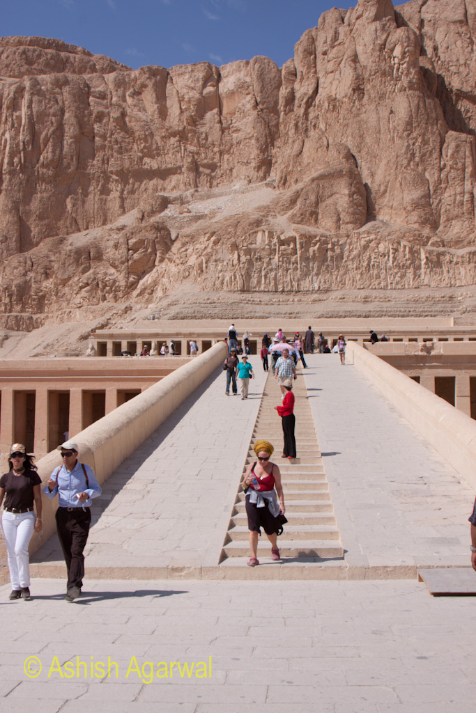 Photo - View of the ramps that lead to different levels of the mortuary temple of queen Hatshesput in Egypt, near Luxor