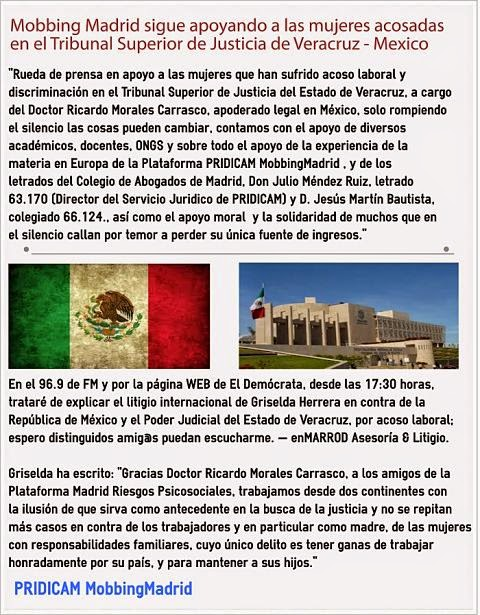 Mobbing Madrid sigue apoyando a las mujeres acosadas en el Tribunal Superior de Justicia de Veracruz Mexico