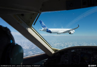 In the air with the first Airbus A350 flight [Photo: Airbus]