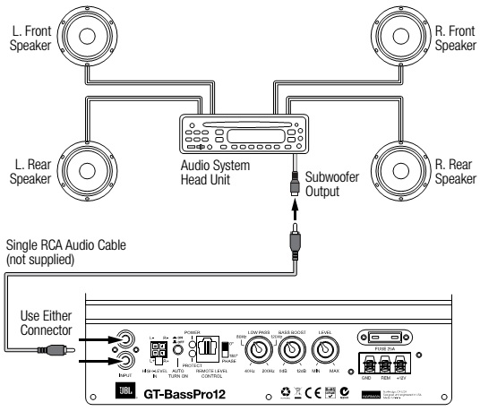 jbl gt basspro12 powered car subwoofer wiring diagram circuit car audio system s head unit does not have line level outputs connect the gt basspro12 s high level inputs to either the front or the rear speaker outputs