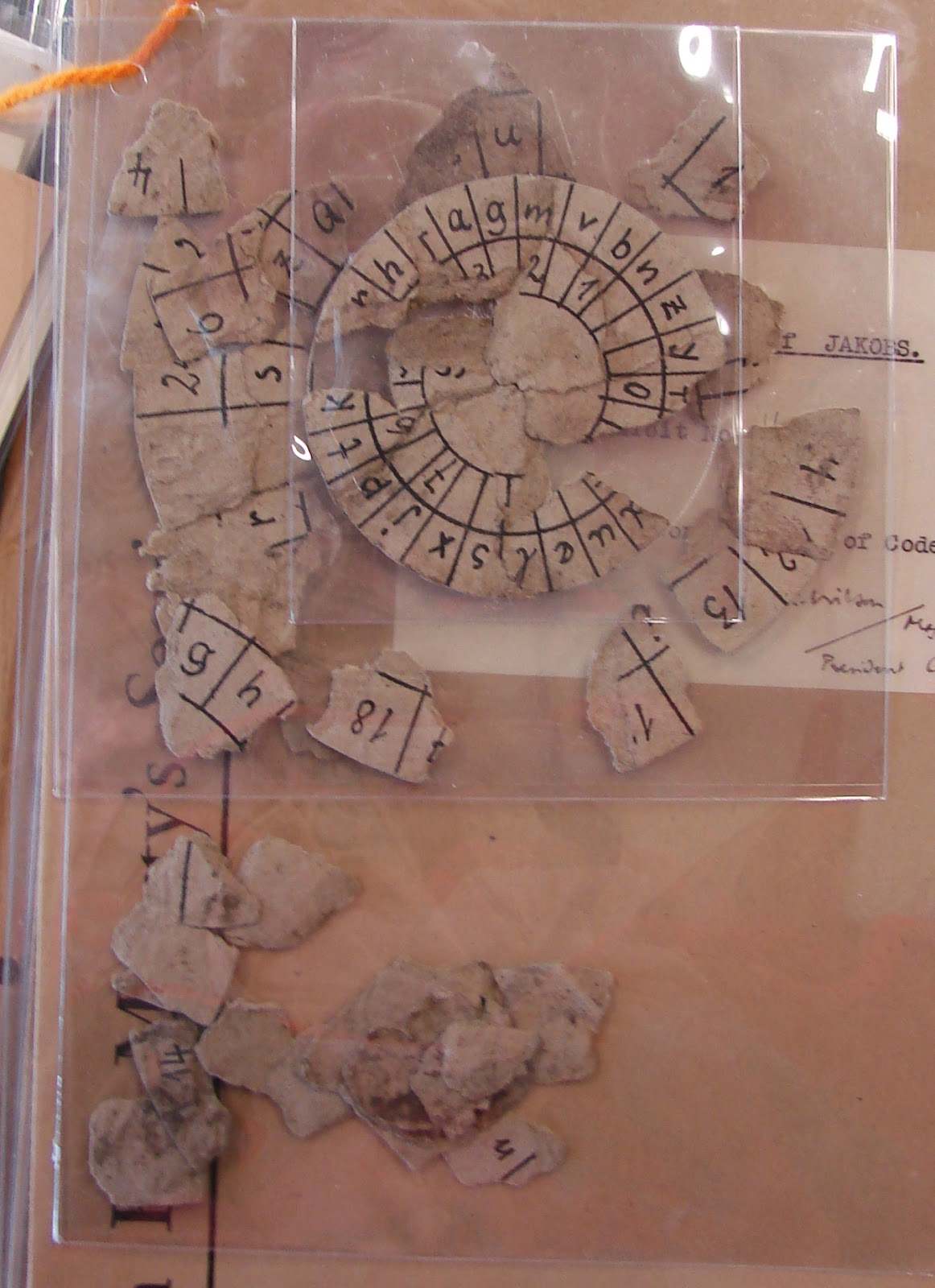 Josef Jakobs' cipher disc fragments held at the National Archives.
