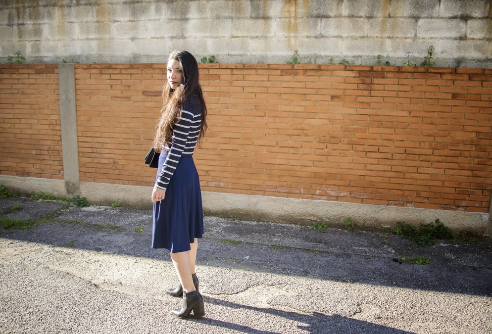 total blue, midi skirt, street fashion 2015, blue and black, francesca navarro, fashion blogger, river island boots