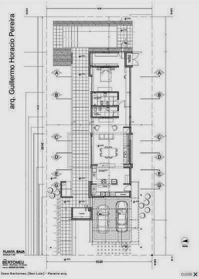 Plano de arquitectura de planta baja de casa contemporánea