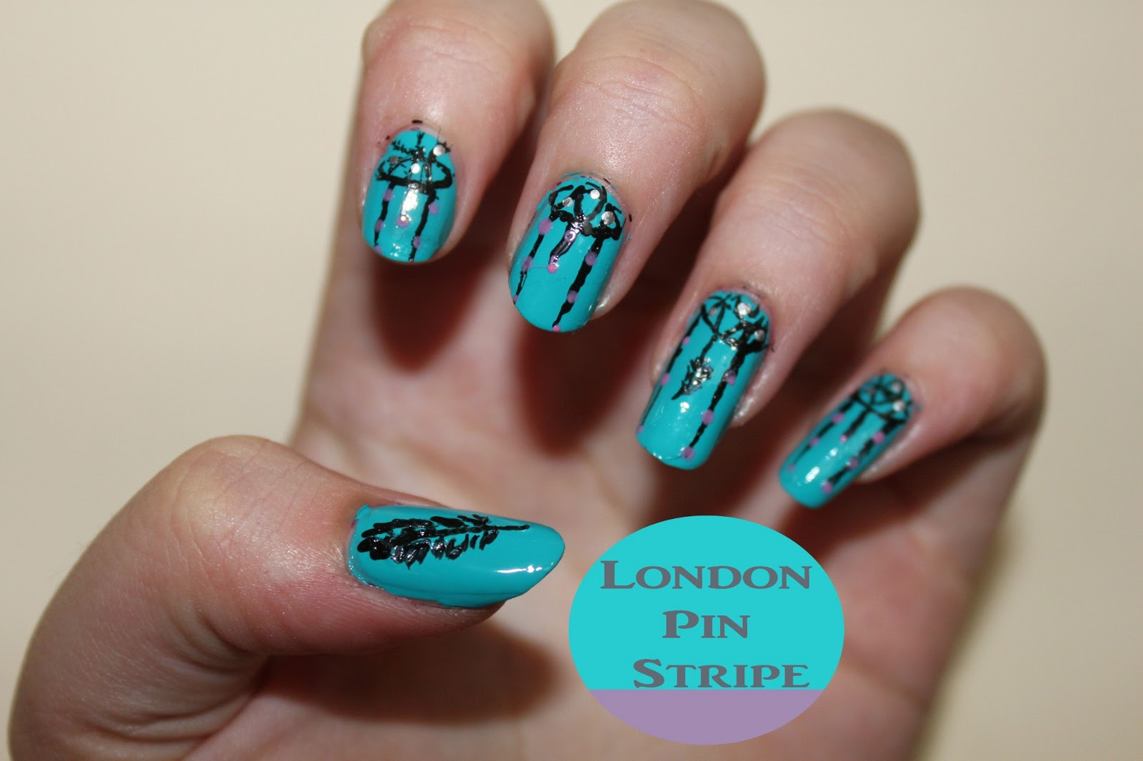 Dream catcher nails   London Pin Stripe