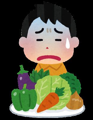 野菜が嫌いな子供のイラスト