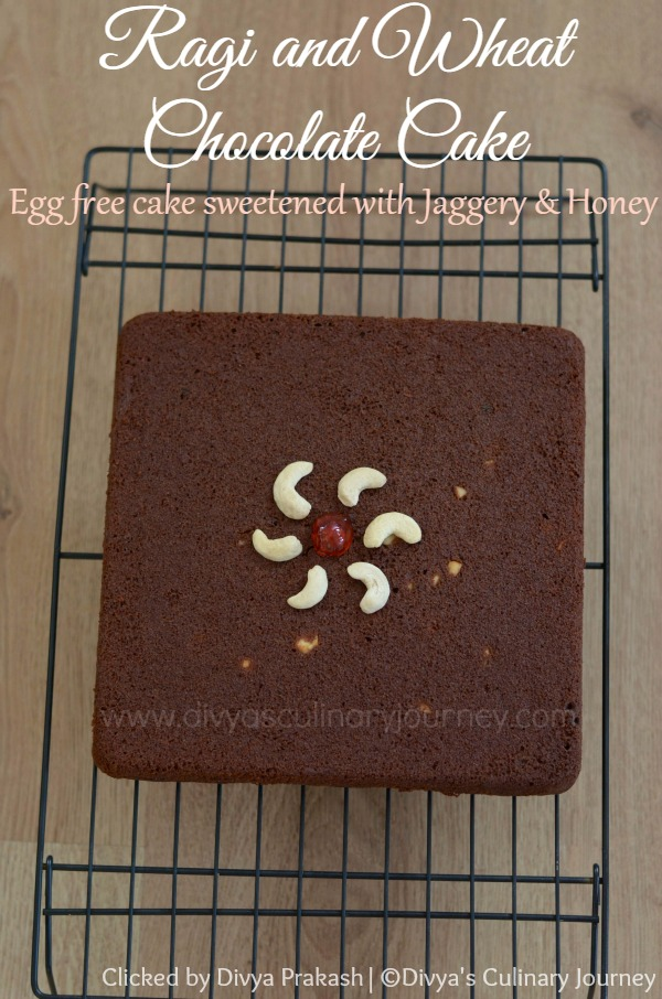 Egg less Ragi Chocolate Cake, Ragi Cake, Ragi cake with jaggery