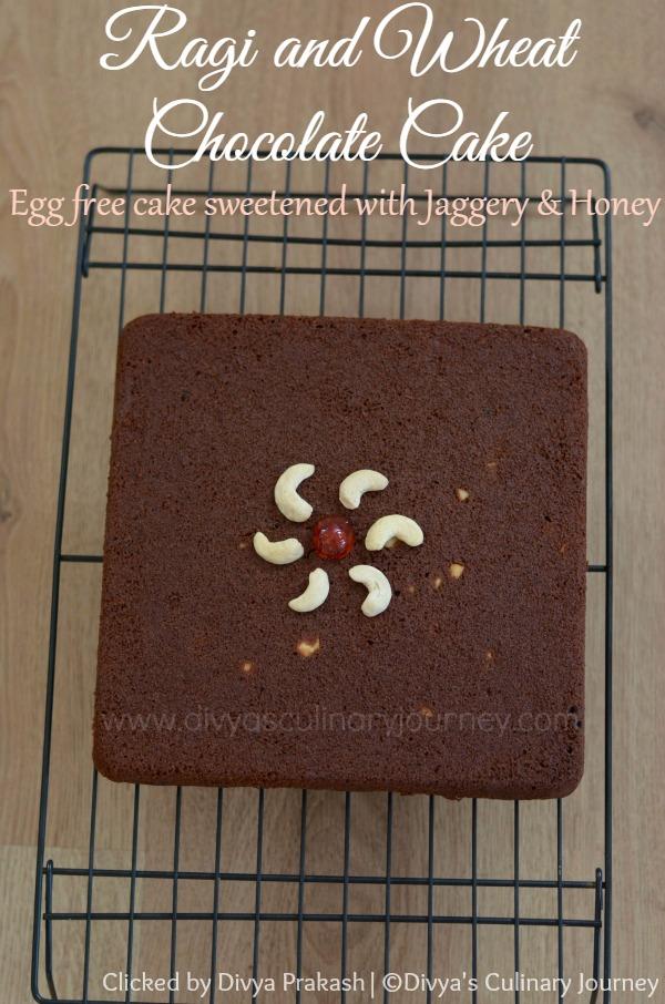 Egg less Ragi Chocolate Cake, Ragi Cake, Ragi cake with jaggery