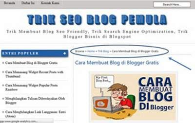 Trik Mudah Memasang Breadcrumb di Blog