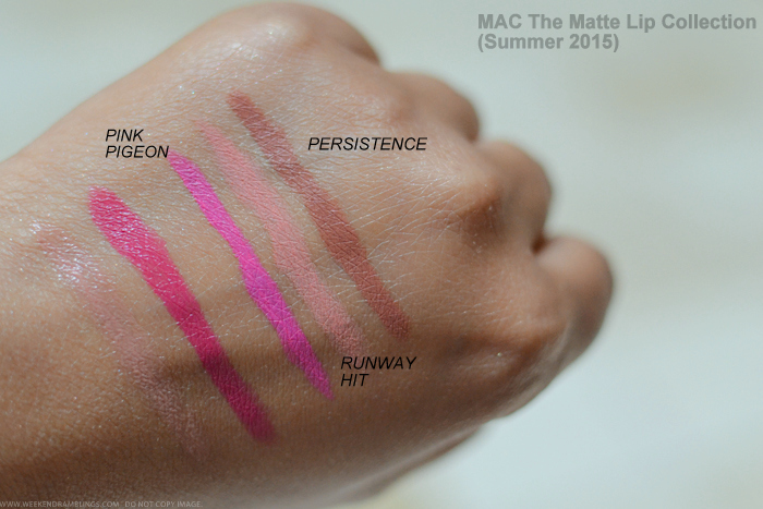 MAC The Matte Lipstick Collection Summer 2015 Swatches Pink Pigeon Runway Hit Persistence