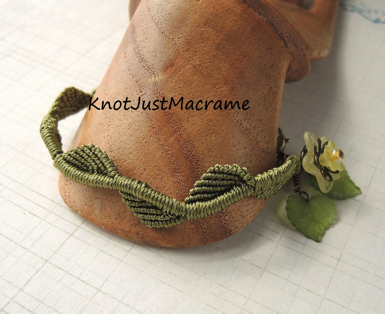 Micro macrame leaves and vine by Sherri Stokey of Knot Just Macrame.