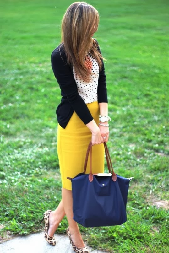 Yellow Skirt With White And Black Doted Shirt And Black Sweater