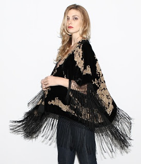 Vintage black velvet burnout kimono jacket with swingy fringed trim.