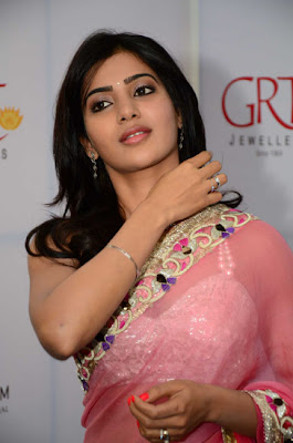 Actress Samantha Latest Cute Stills in Pink Saree
