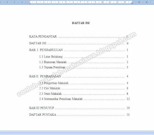 Penulisan dan Contoh Daftar Isi Makalah