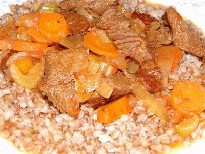 Moose Stew and Buckwheat Side