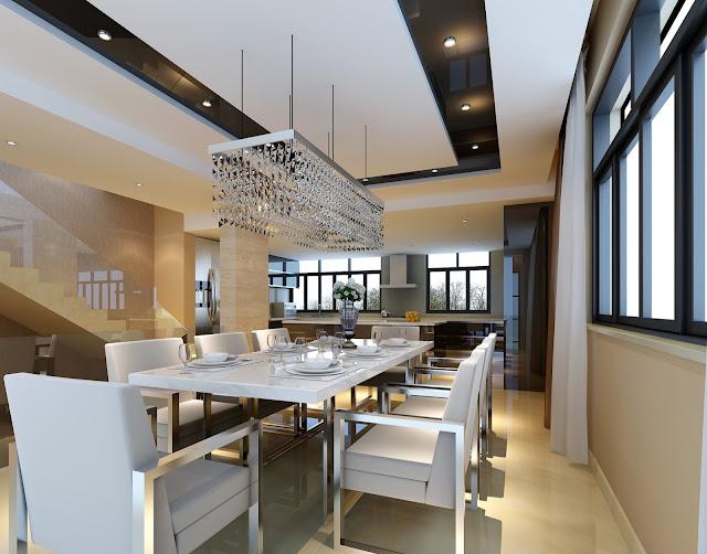 Mẫu trần thạch cao phòng ăn biệt thự hiện đại