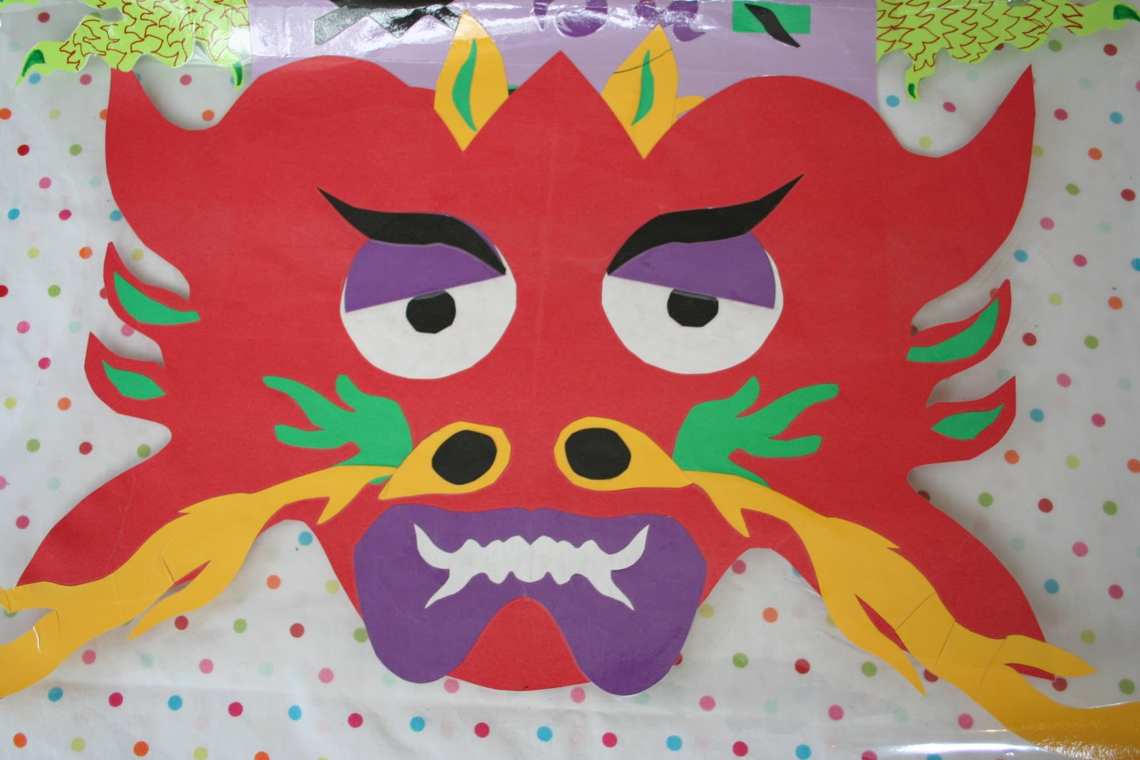 Pink and green mama cut paper dragons for chinese new for Paper art projects