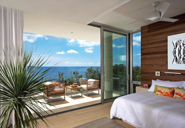 Modern bedroom with the balcony