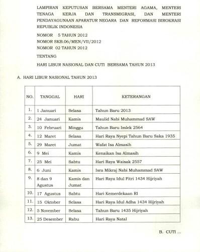 Keputusan Hari Libur Nasional dan Cuti Bersama menteri agama, menteri