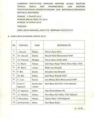 Keputusan Hari Libur Nasional dan Cuti Bersama menteri agama, menteri tenaga kerja dan menteri pendayagunaan aparatur negara dan reformasi birokrasi republik indonesia