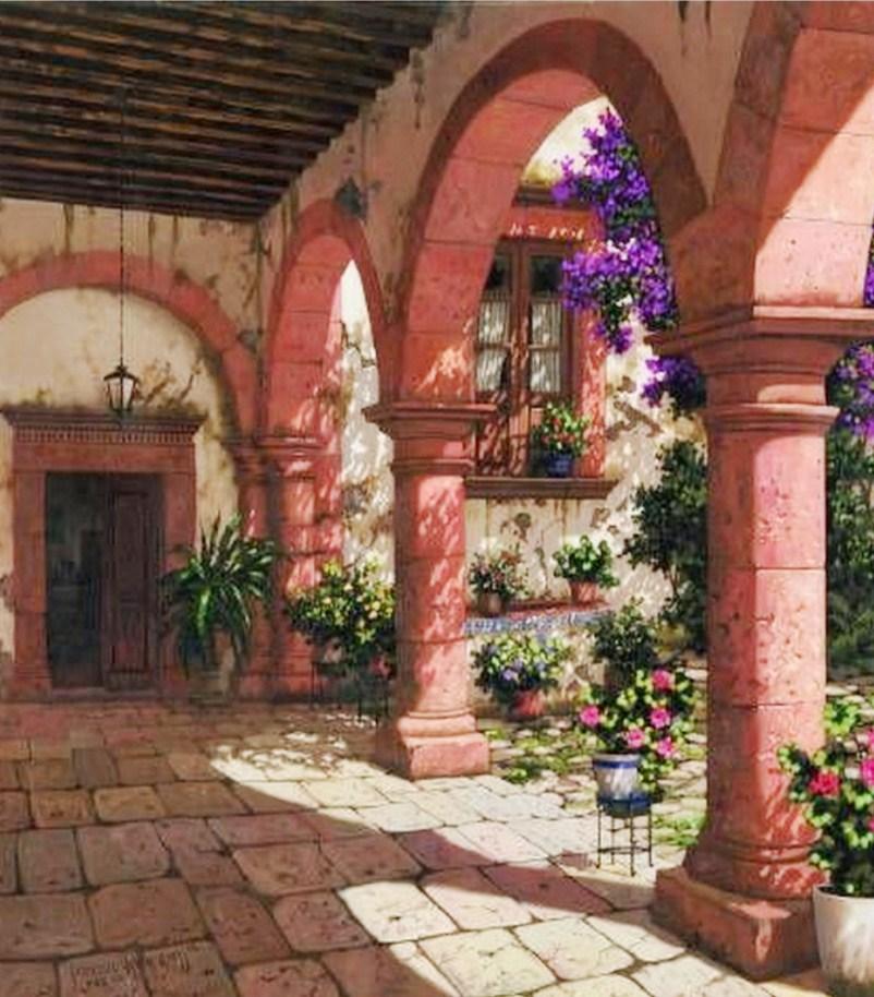 Pinturas cuadros lienzos portales antiguos leo for Cuadros mexicanos rusticos