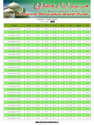 Jadwal Imsakiyah Tuban Ramadhan 1436 H