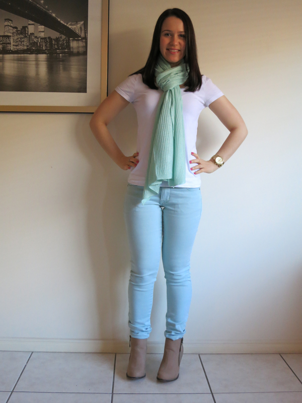 Mint jeans, white t-shirt, denim jacket, mint scarf, neutral booties, petite outfit, petite booties