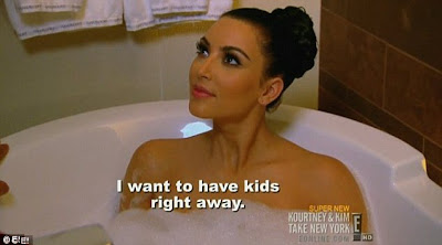 Bubbling away: Kim was shown in a bath chatting to now-estranged ...