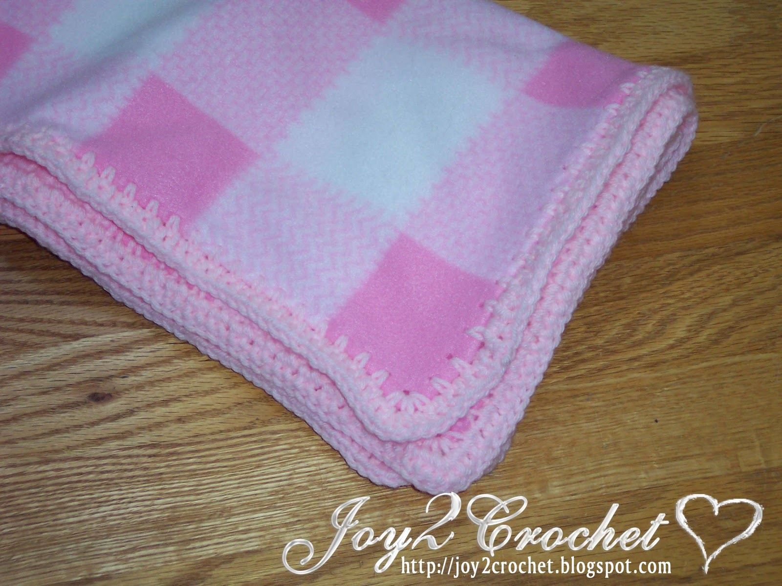 Crocheting Edges On Fleece Blankets : Joy 2 Crochet: Fleece Baby Blankets with Crocheted Edge