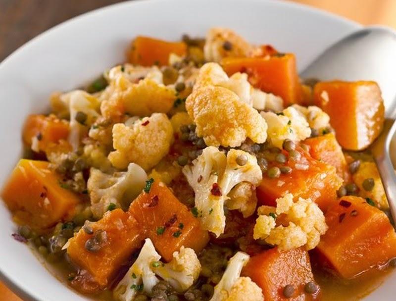 Abóbora e Couve-Flor com Lentilhas e Especiarias (vegana)