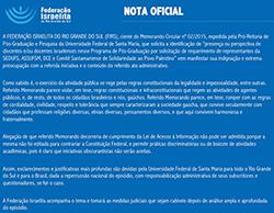 Nota oficial da Federação Israelita do Rio Grande do Sul