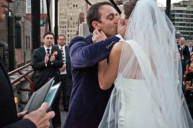 A Model Wedding, first kiss on a rooftop wedding